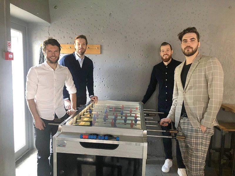 Latvijas Futbola arodbiedrības vadītāji – Vladislavs Gabovs (no kreisās), Kaspars Gorkšs, Renārs Rode un Dāvis Mārtiņš Daugavietis.