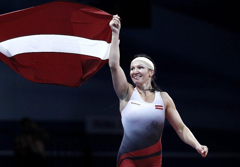 Latvijas titulētākā cīkstone Anastasija Grigorjeva pērn, triumfējot Eiropas spēlēs Minskā.