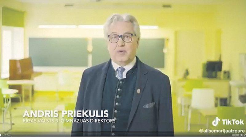 """Partijas """"Gods kalpot Rīgai"""" apmaksātā reklāma, kurā filmējušies vairāki Rīgas skolu direktori, izvietota arī vietnē """"TikTok"""", kas vairāk populāra pusaudžu un bērnu vidū un tajā parasti tiek publicēti īsi video. """"Mana meita jau pajautāja, ko viņš [Burovs] tur dara? Teicu, ka medī astoņpadsmitgadīgo balsis…"""" tā sociālajos tīklos redzēto videoreklāmu komentē kāda tviterlietotāja. Reklāmā redzams arī Rīgas 3. Valsts ģimnāzijas direktors Andris Priekulis, kurš tai filmējies savā darba vietā – skolā."""