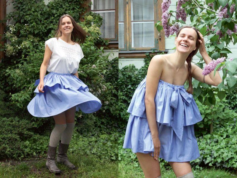 Svārku autore Guna Nebare ir ne vien prasmīga tērpu dizainere un šuvēja, bet arī modele.