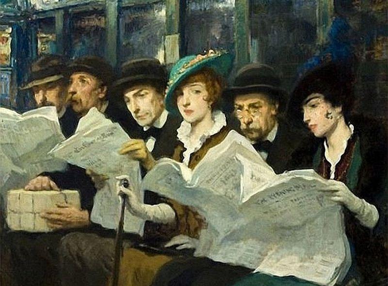 Avīžu lasītāji Ņujorkas metro. 20. gs. sākuma F. L. Moras glezna.