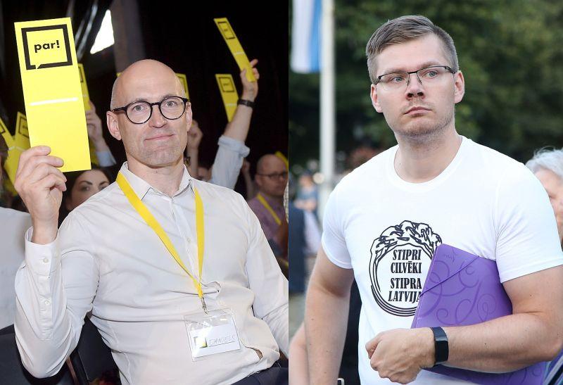 Lai gan Daniels Pavļuts (attēlā pa kreisi) un Jānis Ieslanieks darbojas vienā koalīcijā, abi pārstāv ideoloģiski ļoti atšķirīgas partijas.