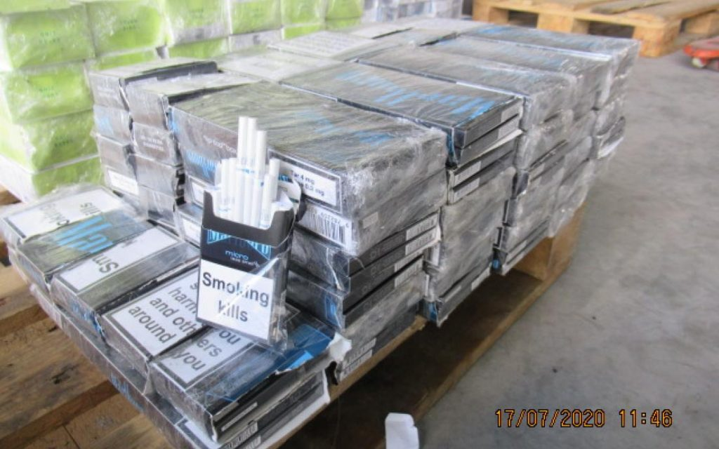 Konfiscētās kontrabandas cigaretes.