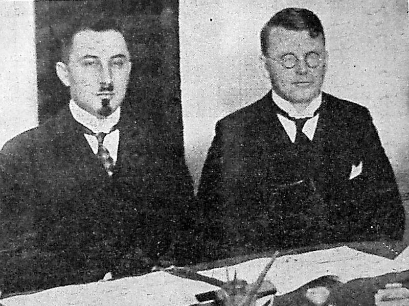 Ivans Lorencs (no kreisās) 1927. gadā.