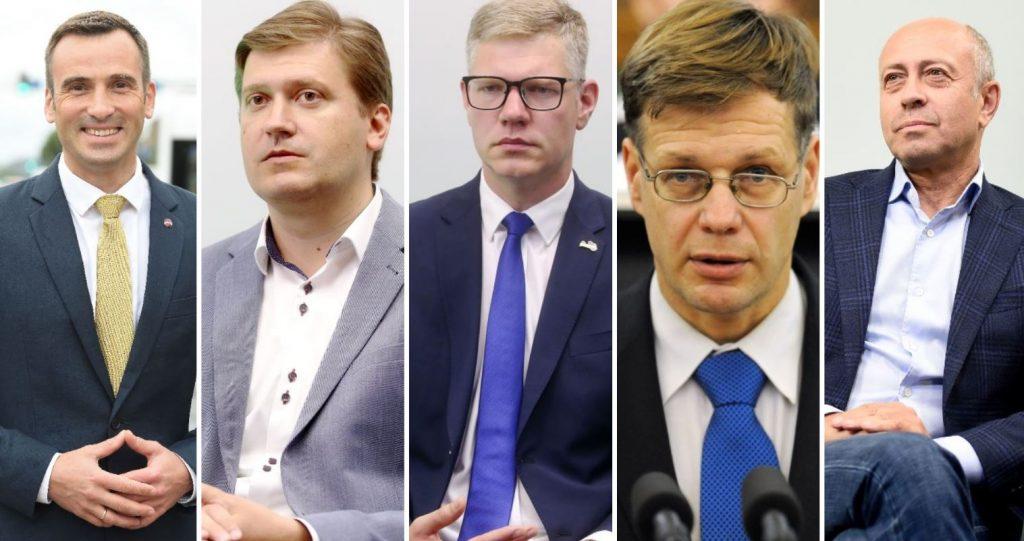 Foto (no kreisās): Mārtiņš Staķis, Konstantīns Čekušins, Vilnis Ķirsis, Einārs Cilinskis, Oļegs Burovs.