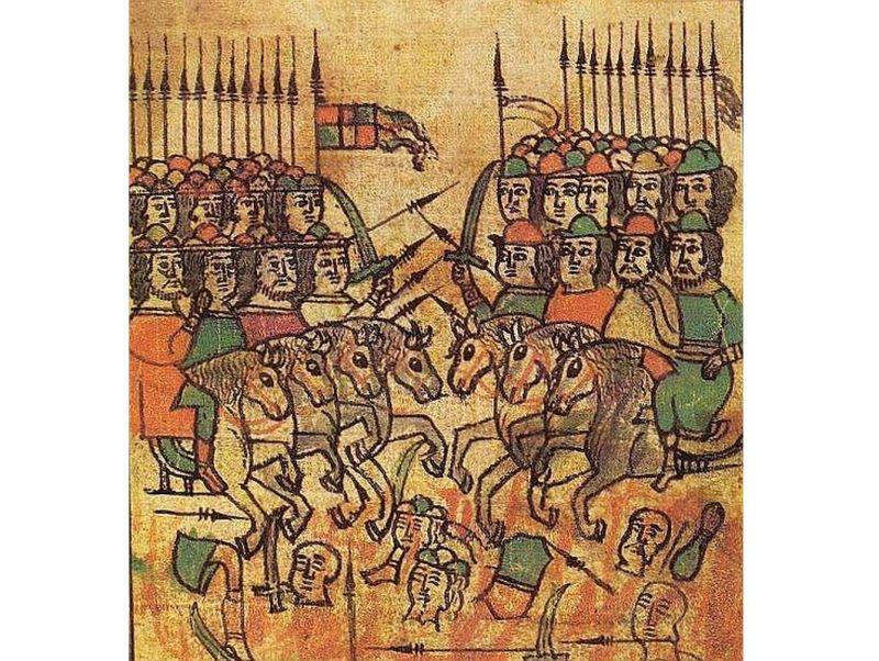 Kuļikovas kaujas aina senā miniatūrā.