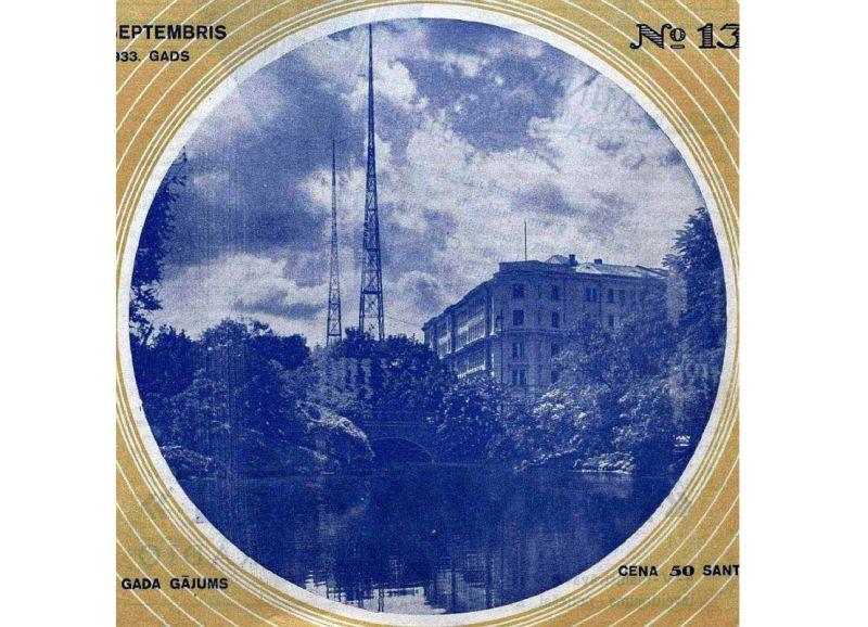 Rīgas radiofona ēka un torņi 30. gadu sākumā.