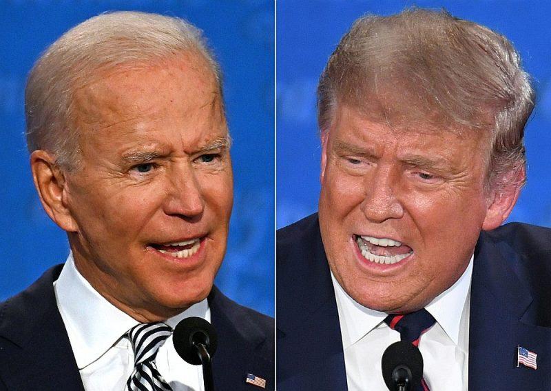 """Kad prezidents Donalds Tramps (no labās) bija vairākkārt iejaucies viņa teiktajā, Džo Baidens neizturēja un nošņāca: """"Vai tu aizvērsies?"""""""