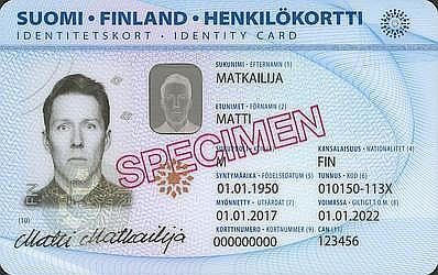 Vecās ID kartes paraugs, kurā personas koda pirmā daļa, līdzīgi kā Latvijā, norāda uz dzimšanas datumu, bet otrās daļas skaitļa pēdējais cipars – uz dzimumu. Šajā piemērā 3 norāda, ka persona ir vīrietis. Pēc reformas abas koda daļas būs nejauši izvēlētu ciparu virknējums.