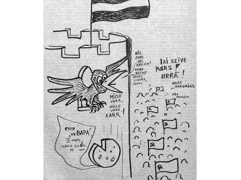 """Uzticību rubikiešiem saglabājusī """"Cīņa"""" 1991. gada janvāra dienās publicēja šādas """"karikatūras""""."""