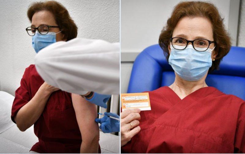 Valsts prezidenta sieva Andra Levite saņēmusi savu pirmo vakcīnu pret Covid-19.