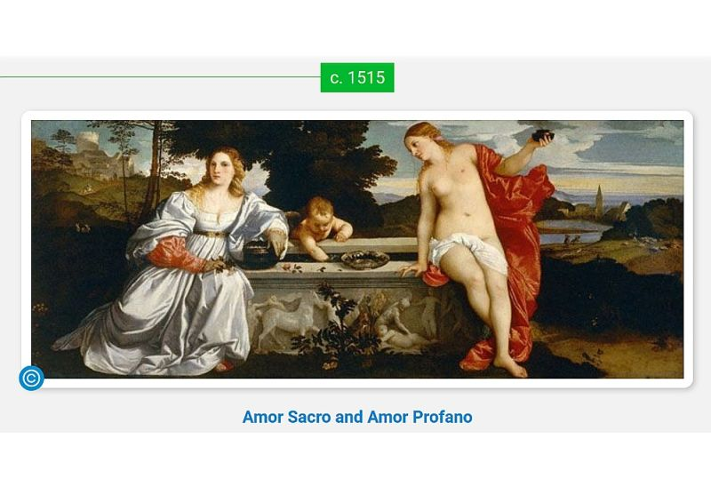 """Ticiāns (dzimis starp 1473. un 1490. miris 1576. gadā) """"Zemes un debesu mīlestība"""" (Amor Sacro e Amor Profano, 1515–1516). Darbs izstādīts Borgēzes galerijā Romā."""